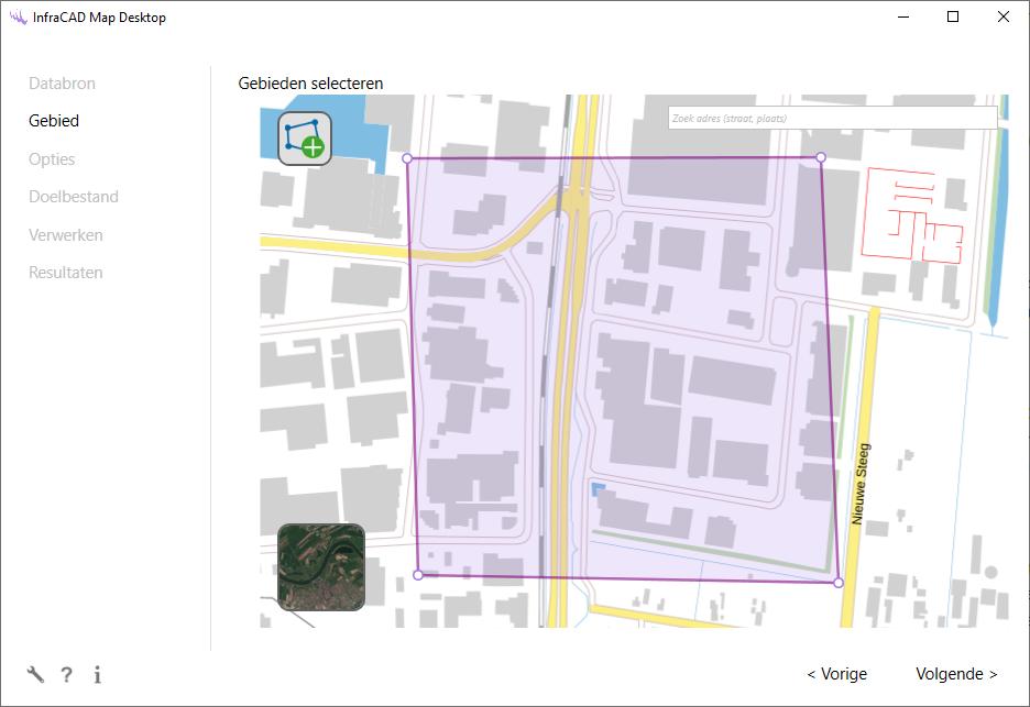 Te importeren gebied aangeven in InfraCAD Map Desktop