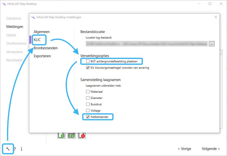 InfraCAD Map Desktop opties